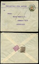 INDIA 1927 AMRITSAR...POSTAGE DUE SWITZERLAND