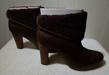 NEW UGG High Heel DANDYLION TRES Leather Knit Boots Brown Women's Size 8