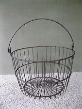 "Antique Wire Basket Uncoated Vintage Primitive Egg Field Bail Handle, 14"" x 9"""