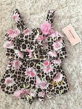 Juicy Couture Toddler Girls Floral Romper Cheetah Print  NWT Size 12 Months