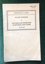 1943 brochure TM 9-290 APPAREILS DE PROJECTION D'ARTIFICES introuvable!