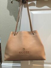 Gucci Calfskin Braided Handle Tote Purse Bag Blush Pink $795