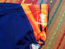TYR Men's Phoenix Splice Swimsuit Bikini Blue/Orange Durafast Size 38 NWOT