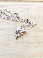 """Swimming Shark Charm Fish  24"""" Silver Plated Necklace Jaws"""