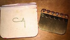 Vintage 1940s 40s Coty Sleighbells Powder & Rouge Brass Compact in Original Box
