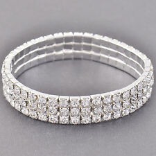 Stunning Silver Plated Around 3-Row Cubic Zirconia Wedding Party Bracelet,Z3125