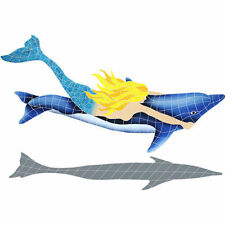 Mosaic Mermaid Dolphin Swimming Pool Bath Wall Patio Deck Walk Table Bar Art