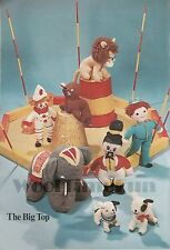 Vintage Knitting Pattern: Toy Circus Elephant/Lion/Seal/Dogs/Clown
