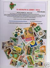 SCOUTS ARMY SOLDIERS NCC NATIONAL CADET CORPS 75  DIFFERENT STAMPS ALL LARGE