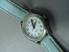"Timex Indiglo stainless smaller case Baby Blue 7 1/2"" leather band new battery"