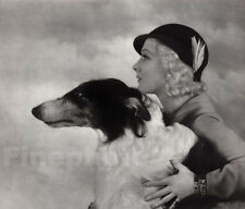 1935 Vintage ART DECO WOMAN Borzoi Wolfhound Dog By ALFRED CHENEY JOHNSTON 11x14