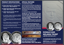 PROOF 2017 One Troy Ounce .999 Silver Donald & Melania Trump Coin ~ NUMBERED!!!
