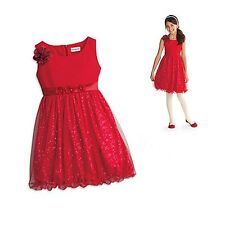 American Girl CL MY AG SPARKLE PARTY DRESS SIZE 6 NEW Red Flower Glitter