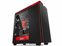 NZXT H440 Mid Tower ATX PC Gaming Case Side Window Black/ Red CA-H440W-M1