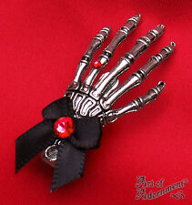Gothic Punk Silver SKELETON HAND HAIR CLIP Red Rhinestone Black Bow Pewter H76