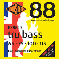 ROTOSOUND RS88LD TRU BASS BLACK NYLON BASS STRINGS, STANDARD GAUGE 4's - 65-115