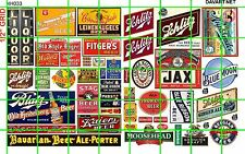 NH033 DAVE'S DECALS 1/2 Set N SCALE ASSORTED BEER ADVERTISING SET LIQUOR STORE