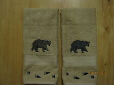 New 2 BLACK BEAR with BEAR TRACKS Embroidered Hand Towels,Northwoods cabin decor
