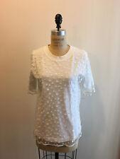 Chloe Size S White Cotton Blouse Polka Dot Mesh Overlay Short Sleeve