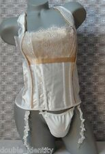 "Crossdress Ivory Satin Boned Sissy Corset Pouch w Garters & Stockings 30""- 36"""