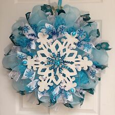 New Premium Large Glistening Snowflake Holiday Winter Wreath Handmade Deco Mesh