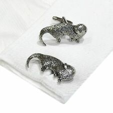 English Pewter OTTER  animal Cufflinks. Xmas Gift NEW (X2TSBCA13)