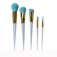 5PCS White Thread Unicorn Handel Blue Fiber Makeup Foundation Blush Brushes Pro