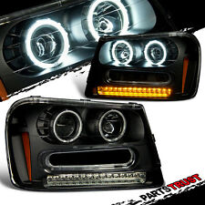 [CCFL Halo]2002-2009 Chevy Trailblazer Rim LED Projector Black Headlights Pair