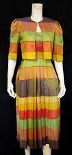 Colorful Striped Pure Silk Dress and Bolero Jacket Made in India