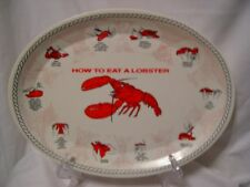 set/4 vintage kitchen kitsch Beach Cottage 'How to Eat a Lobster' platters plate