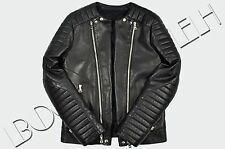 BALMAIN 5000$ Authentic New Quilted Leather Signature Biker Jacket sz 50 L