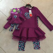 """New Girls Dollie And Me Legging Set Size 8 Doll Outfits Fits 18"""""""