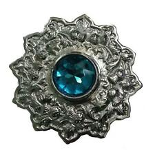 "Fly Plaid Brooch Stone Sky Blue Chrome Finish 4""/Scottish Kilt Fly Plaid Brooch"