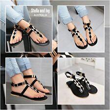 black embellished sandals size 7 women shoes new
