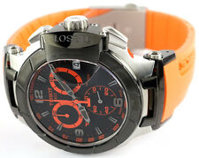 Tissot T0484172705704 T-Race Black Dial Orange Rubber Strap Men's Watch - NEW