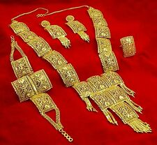 Bollywood Wedding Indian Ethnic Gold Plated Women Necklace Earrings Set Jewelry