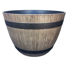 Northcote Pottery 45cm Driftwood Wine Barrel Southern Patio Planter