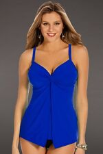 NEW MIRACLESUIT SWIMSUIT 10 40 TANKINI 2 Piece $170 Retail Love Knot Blue