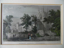 Bodmin Church, Cornwall. Antique Engraving with Hand Col.