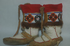 FINE Pair of Native American Beaded Fur Buckskin Mukluks Boots size 8-8.5