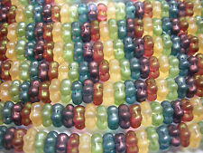40 3x7mm Matte Rainbow Luster Flower Spacer Czech Glass Beads