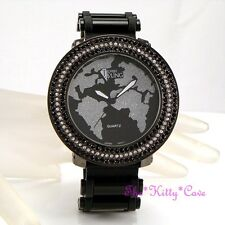Gents Ladies Unisex Rapper Ice Gem Pimp Bling HipHop Crystals Black Globe Watch