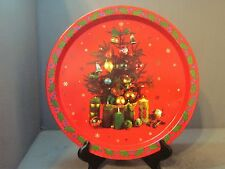 METAL CHRISTMAS TRAY DECORATED WITH TREE AND CANDLES