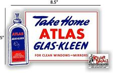 "8.5"" ATLAS GLAS-KLEEN WINDSHIELD SERVICE BOX DECAL GAS STATION STANDARD OIL"