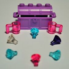 New Genuine LEGO Medium Lavender Treasure Chest + Six Jewels Gems Crystals
