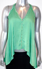 $178 NWT BCBG MAX AZRIA womens ABBEY studded SATIN open back TOP kelly green *XS
