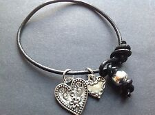 Bijoux real leather bracelet with tibetan silver love heart charms boho