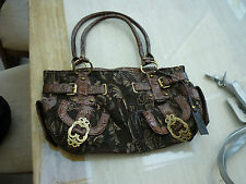 Medium handbag, canvas and faux leather, dark brown with gold fittings, used x 3