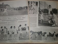 Photo article UK tennis star Kay Stammers coaching Junior lawn tennis club 1945