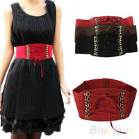 Womens Lady Rivet Elastic Buckle Wide Waist Belt Waistband Corset Fashion B54U